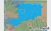 Political 3D Map of Vas, semi-desaturated