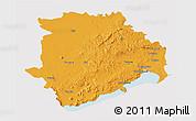 Political 3D Map of Veszprém, cropped outside