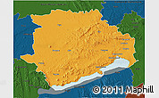 Political 3D Map of Veszprém, darken