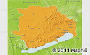 Political 3D Map of Veszprém, physical outside