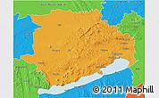 Political 3D Map of Veszprém