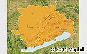 Political 3D Map of Veszprém, satellite outside
