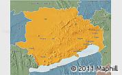 Political 3D Map of Veszprém, semi-desaturated