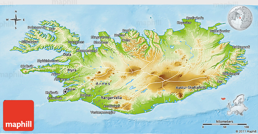 Topographic Map Of Iceland.Physical 3d Map Of Iceland