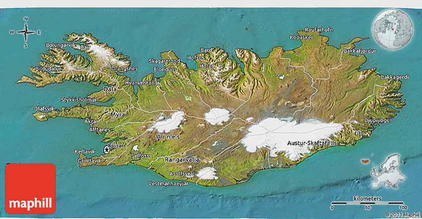 Satellite 3D Map of Iceland