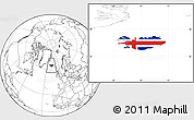 Flag Location Map of Iceland, blank outside