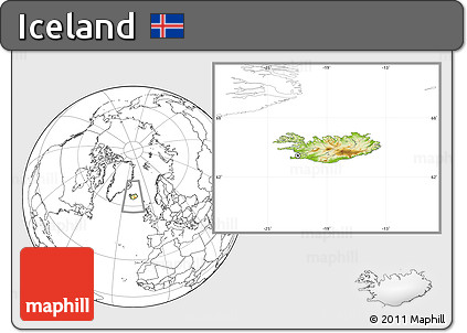 Physical Location Map of Iceland, blank outside