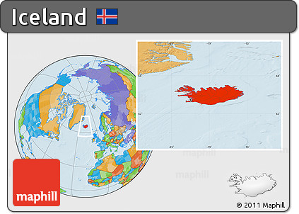 Free Political Location Map of Iceland