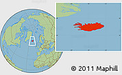 Savanna Style Location Map of Iceland