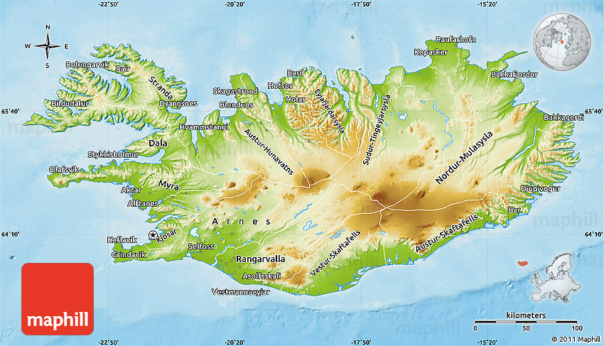 Physical Map of Iceland