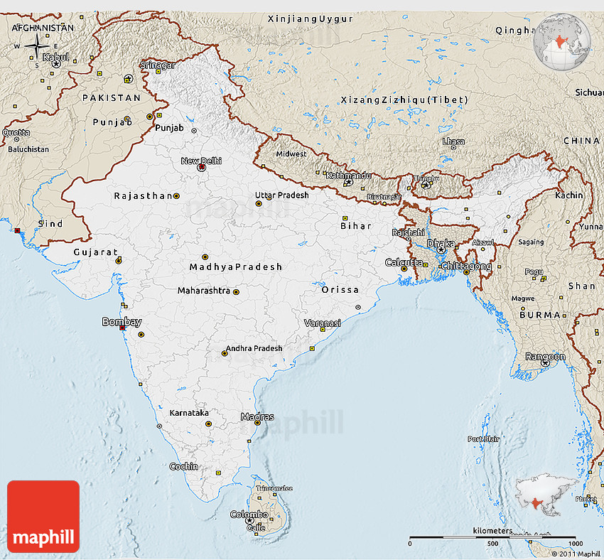 Classic Style 3d Map Of India