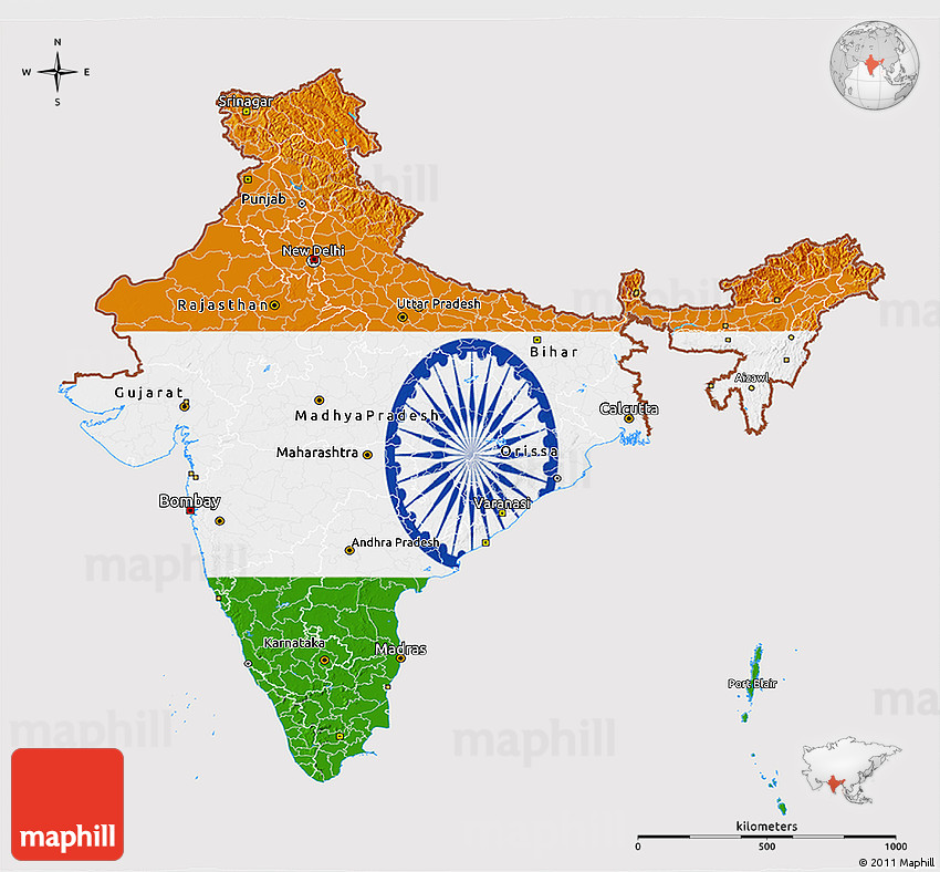 Flag 3d Map Of India