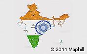 Flag 3D Map of India, flag centered