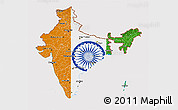 Flag 3D Map of India, flag aligned to the middle