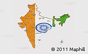 Flag 3D Map of India, flag rotated