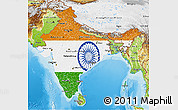 Flag 3D Map of India, physical outside