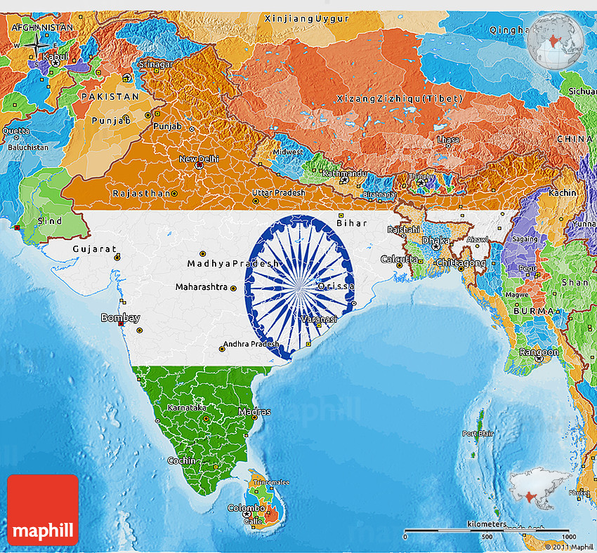 Flag 3d Map Of India Political Outside