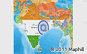 Flag 3D Map of India, political outside