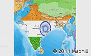 Flag 3D Map of India, political shades outside