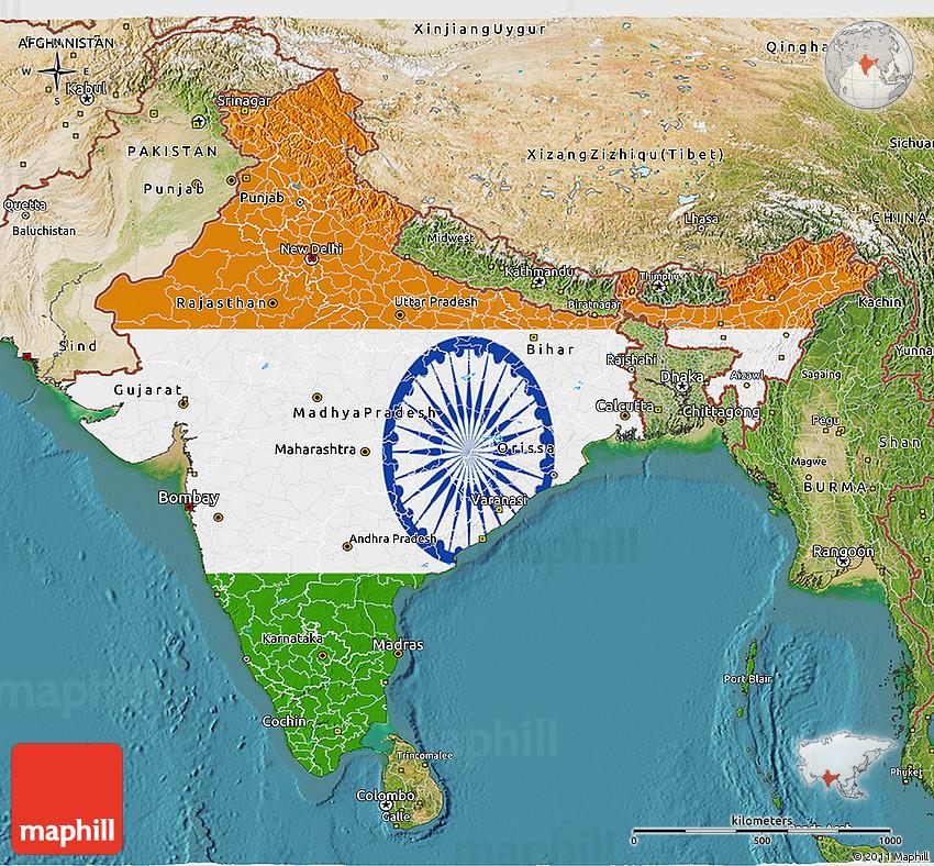 Flag 3d Map Of India Satellite Outside