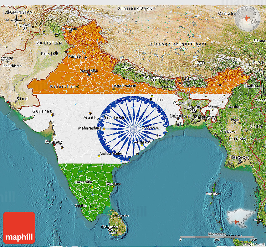Setelight Map Of India.Flag 3d Map Of India Satellite Outside Flag Centered