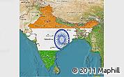 Flag 3D Map of India, satellite outside