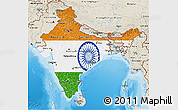 Flag 3D Map of India, shaded relief outside