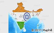 Flag 3D Map of India, single color outside, bathymetry sea