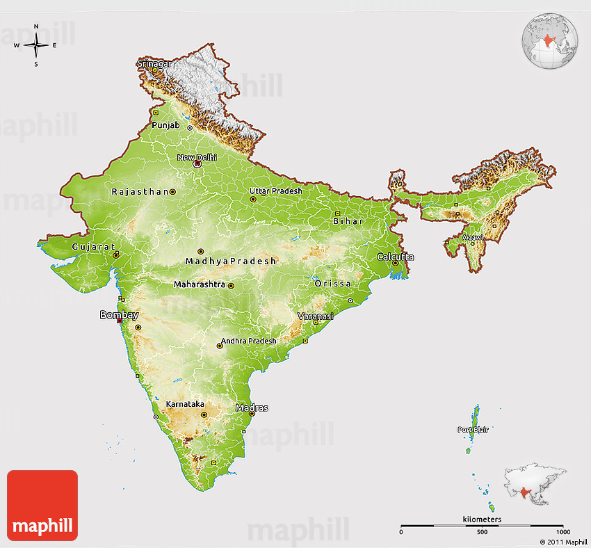 Physical 3d Map Of India Cropped Outside