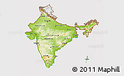 Physical 3D Map of India, cropped outside