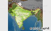 Physical 3D Map of India, darken