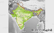 Physical 3D Map of India, desaturated