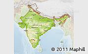 Physical 3D Map of India, lighten