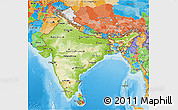 Physical 3D Map of India, political outside, shaded relief sea