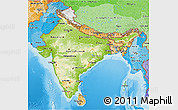 Physical 3D Map of India, political shades outside, shaded relief sea