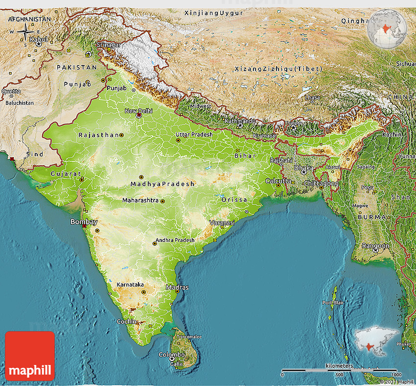 Setelight Map Of India.Physical 3d Map Of India Satellite Outside