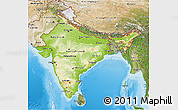 Physical 3D Map of India, satellite outside, shaded relief sea