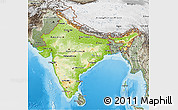 Physical 3D Map of India, semi-desaturated, land only