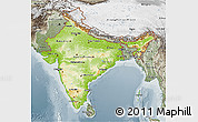 Physical 3D Map of India, semi-desaturated