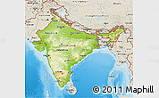 Physical 3D Map of India, shaded relief outside