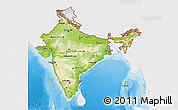 Physical 3D Map of India, single color outside