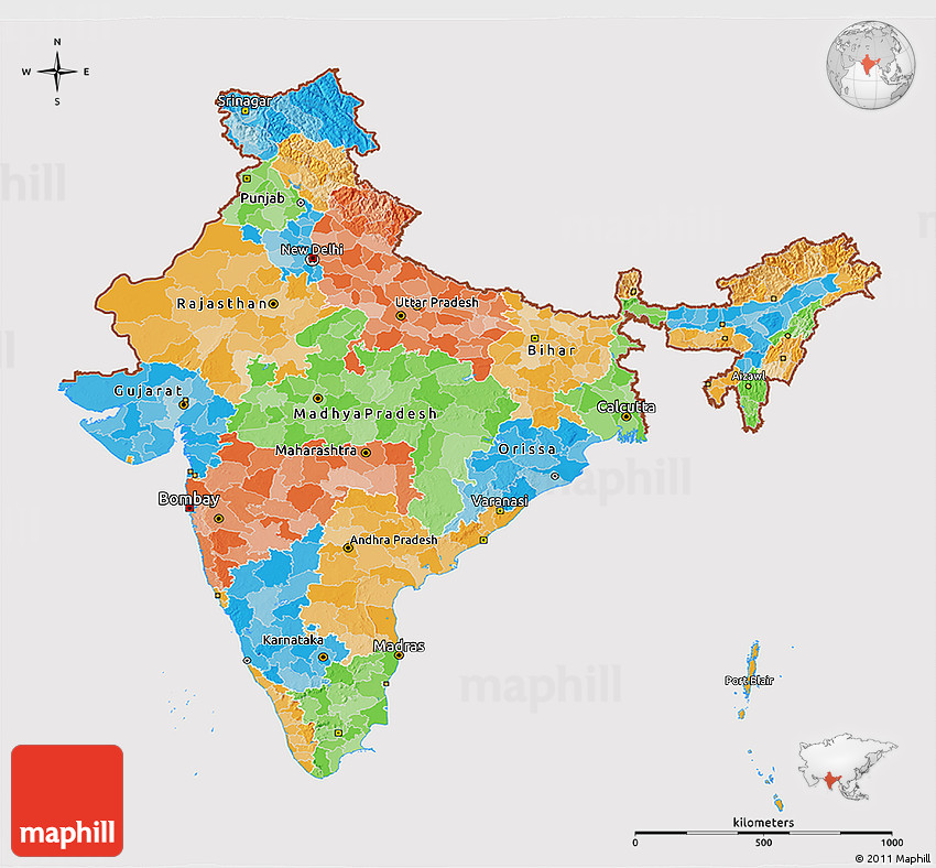 Political 3D Map of India cropped outside