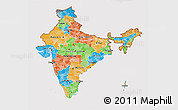 Political 3D Map of India, cropped outside