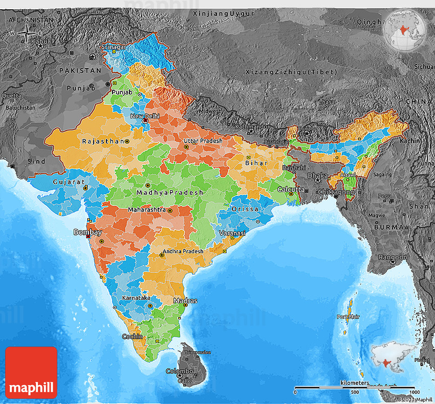 Political 3d Map Of India Darken Desaturated Land Only