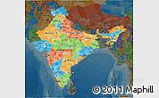 Political 3D Map of India, darken