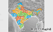 Political 3D Map of India, desaturated