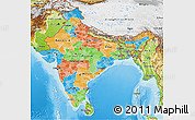 Political 3D Map of India, physical outside
