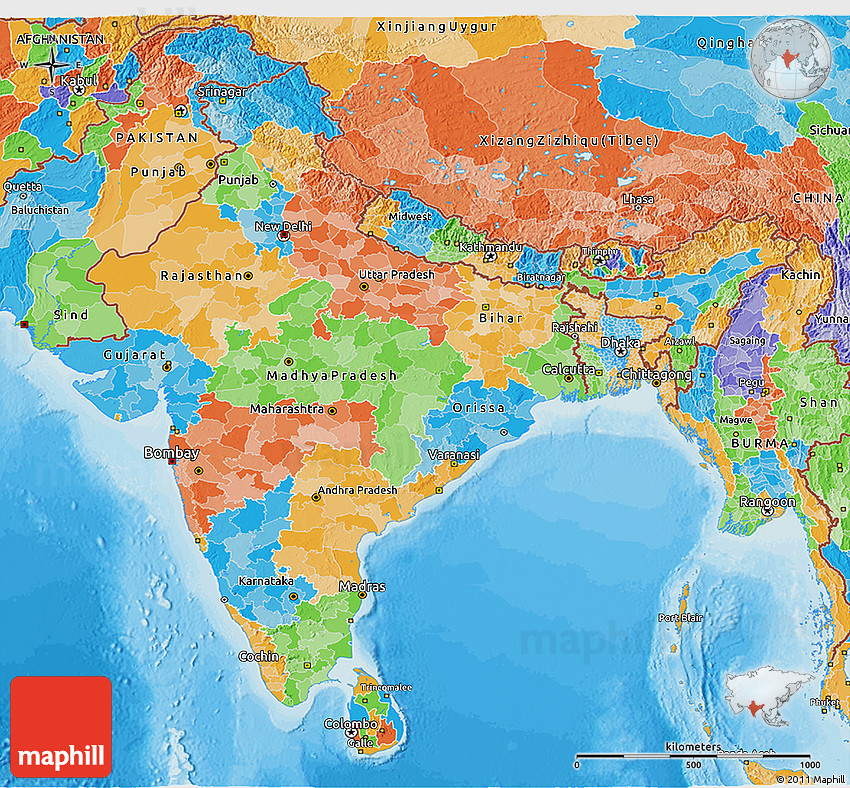 Political 3d Map Of India