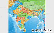 Political 3D Map of India, political shades outside