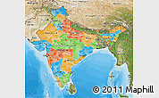 Political 3D Map of India, satellite outside, bathymetry sea